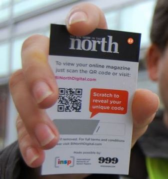 A British 'Big Issue' QR code purchase card with scratch-off panel, allowing access to a digital version of the printed magazine