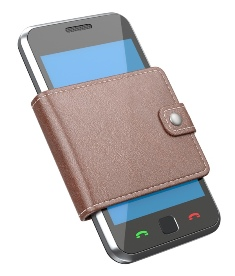 This illustration shows a smartphone figuratively enclosed by a traditional mans' leather wallet, implying the use of the phone as a digital 'wallet'.