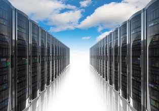 This picture illustrates the cloud computer networking concept, with rows of network servers against a cloudy sky.""
