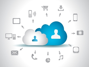 This picture shows the cloud computing concept as a connection between people surrounded by icons for tablet PCs, smartphones, email, digital shopping carts, cameras, telephony, file transfer and streaming music etc