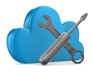 This image shows a 3D cartoon cloud overlaid by a crossed ring spanner and flat-blade screwdriver.