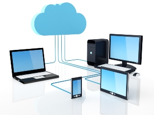 This picture shows a variety of information and communications technology (ICT) devices - including desktop and laptop PCs, a tablet computer and a smart-phone - connected to the cloud, and hence to each other