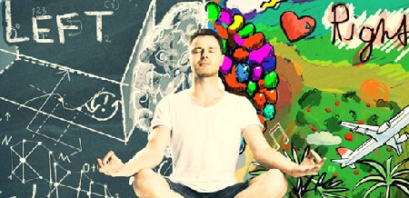 Man sitting in a meditative pose with images on his left and right indicating left and right brain thinking
