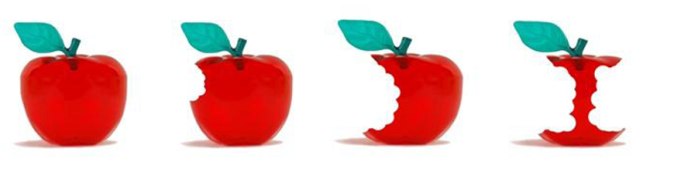 graphic - red apples with bites out of them - symbolising Bytes