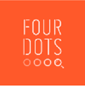 Four Dots Logo - company name in a brown square with 4 small circles under the name