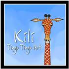 kili tingatinga art logo with illustrated giraffe and blue sky backdrop