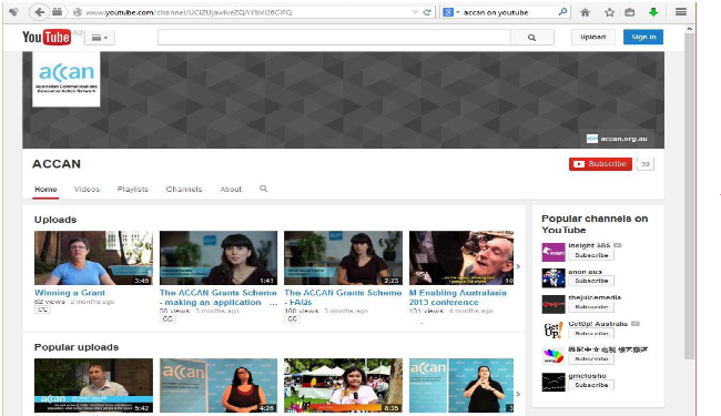 ACCAN's youtube channel screenshot