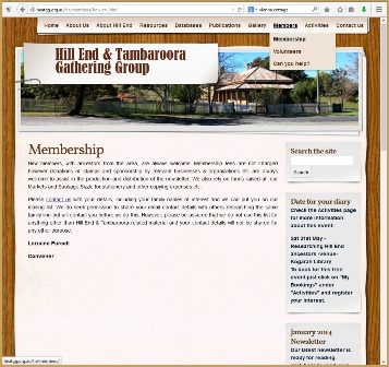 The screen capture on the left of Figure 4 shows the 'Membership' information page of the Hill End and Tambaroora Gathering Group website