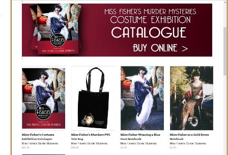 The screen capture on the right side of Figure 1 shows thumbnail images of some of the items for sale by the National Trust as part of its 'Miss Fisher's Murder Mysteries' Costume Exhibition