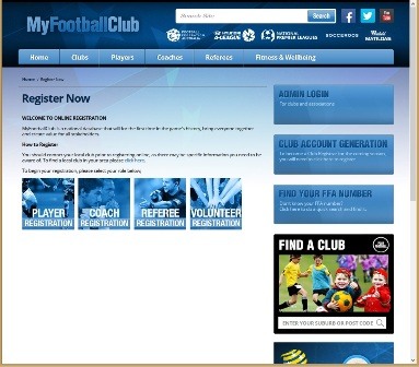 The screen capture on the right side of Figure 5 shows the Football Federation of Australia (FAA) 'My Football Club' website's 'Register Now' option selection page that the PRFC menu links to