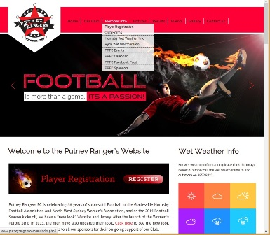 The screen capture on the left of Figure 5 shows the drop-down menu linking to 'Player Registration' from the home page of the Putney Rangers Football Club (PRFC) website