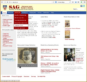 The screen capture on the left side of Figure 3 shows the drop-down menu on the home page of the Society of Australian Genealogists that is used to access their printable membership form.
