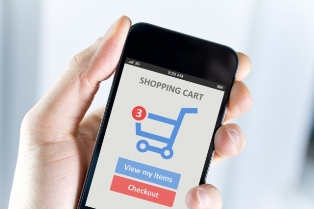 Photograph of hand holding a smart phone, with an online shopping cart application displayed on the screen