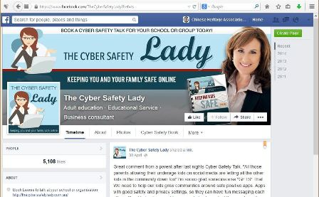 "=""This image is the Facebook page for The Cyber Safety Lady. It features a spcially-designed 'cover' picture that exactly conforms with Facebook's size requirements, and features a cartoon-style representation of Leonie Smith on the left, and a photograph of her on the right; the 'profile picture' reuses the cartoon image."""