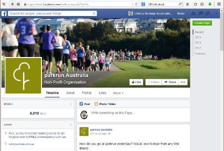 This image shows the Facebook page for the national parkrun Australia non-profit organisation. It features a picture of a stream of runners crossing a park, and the parkrun logo in the bottom left corner of the banner.""