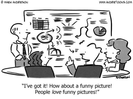 "This image is a cartoon about conveying business information graphically. The caption reads: ""I've got it! How about a funny picture! People LOVE funny pictures!"