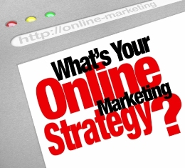 This image shows the question: 'What's Your Online Marketing Strategy' on a website screen with the mock URL 'http://online-marketing'
