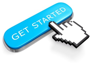 This image shows a blue button labelled 'GET STARTED' being pressed by a computer-screen-style hand cursor