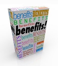 "This image shows a package similar to a cereal box plastered with the word ""benefits"" in a variety of colours, styles and orientations."""