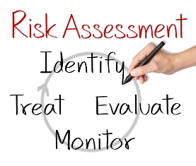 "This image illustrates the process of undertaking ""Risk Assessment"", and shows a hand writing and linking the words ""Identify, Evaluate, Monitor and Treat"" in a continuous loop."