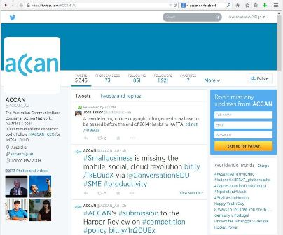 This image shows ACCAN's Twitter  profile page. It features contact details (Twitter 'handles') for staff, indicators for topics under discussion ('hashtags'), and a sign-up facility for visitors to join Twitter.""