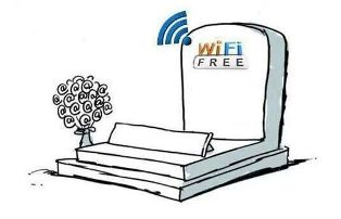 "This image shows a cartoon-style grave with the tombstone engraved with the words ""Wi Fi FREE"" radiating a  signal that implies the availability of a wireless internet connection. In the context, it is a reminder that digital data can survive its creators."