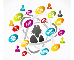 This graphic is an abstract illustration of the interactions with users and customers that the use of social media can promote.