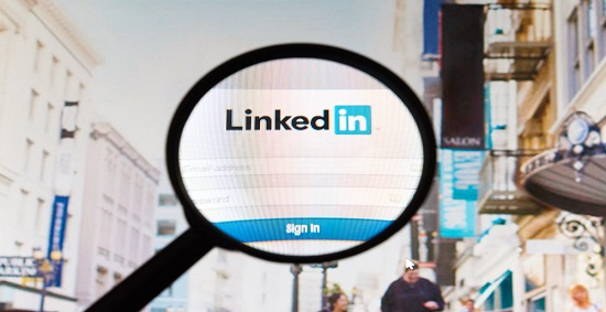 LinkedIn within a magnifying glass