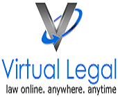The Logo for Virtual Legal - a large V encased in a blue circle and with the coy name underneath