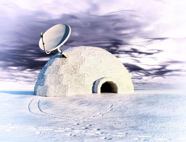 Picture of an igloo with satellite dish attached