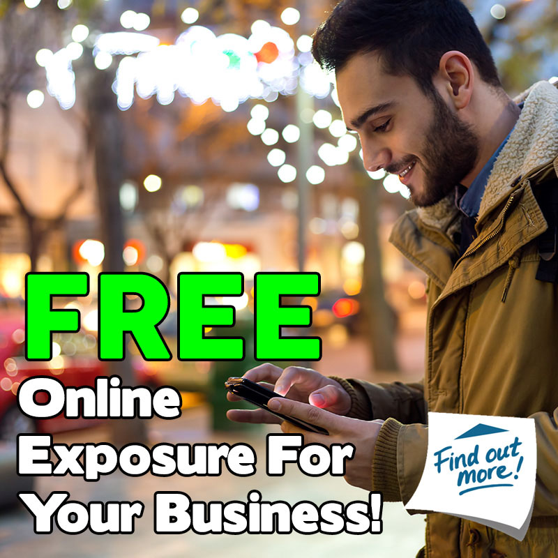 Man looking at phone with text superimposed saying 'Get free online exposure for your business'